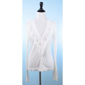 CAbi Ivory Thin Lacey cardigan Small